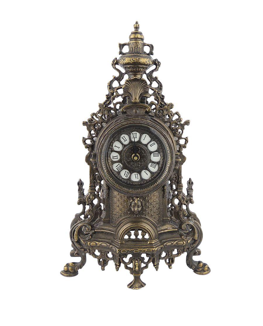 Bronzové krbové hodiny s tmavou patinou