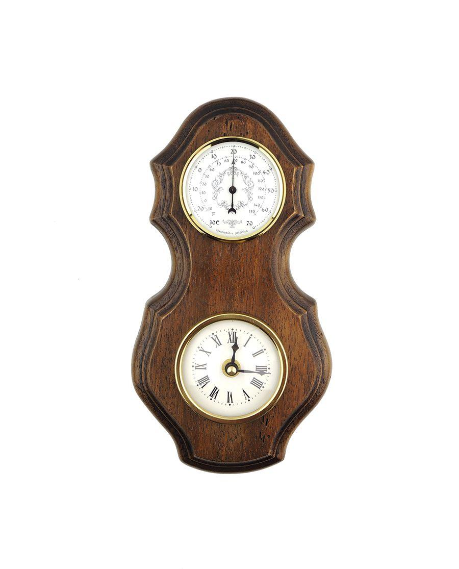 Rustikální barometr s hodinami